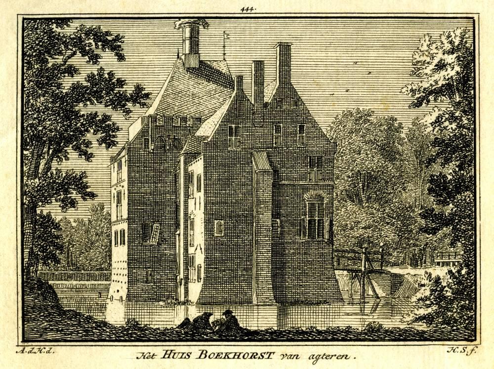 Kasteel Boeckhorst in Noordwijkerhout. Tekening Abraham de Haen, gravure Hendrik Spilman (Uit: Het Verheerlykt Nederland, Isaac Tirion, 1745/1774)